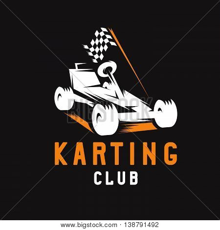 Kart With Finish Flag Vector Design Template
