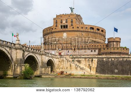 ROME, ITALY - APRIL 8, 2016: Castle Sant'Angelo (The Castle of the Holy Angel or Mausoleum of Hadrian) in Rome