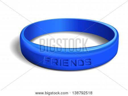 Blue plastic wristband with the inscription - FRIENDS. Friendship band isolated on white background. Realistic illustration for International Friendship Day
