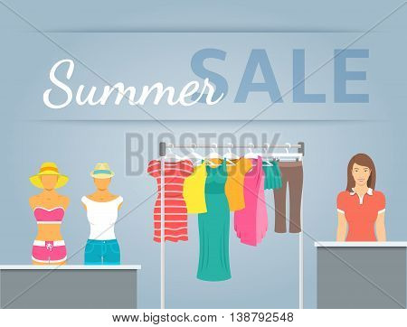 Women clothing store vector flat illustration. Casual clothes collection hanging on metal rack and displayed on mannequins in shop interior. Beautiful girl seller stands at counter. Summer sale banner