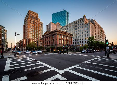 The Intersection Of Berkeley And Newbury Streets, In Back Bay, Boston, Massachusetts.