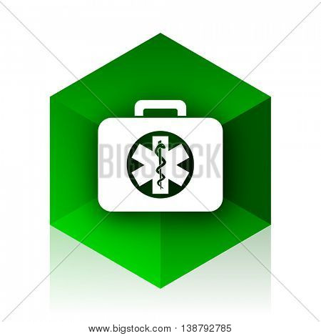 rescue kit cube icon, green modern design web element