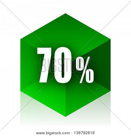 70 percent cube icon, green modern design web element