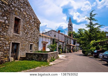 Stone village of Roc main street view Istria Croatia