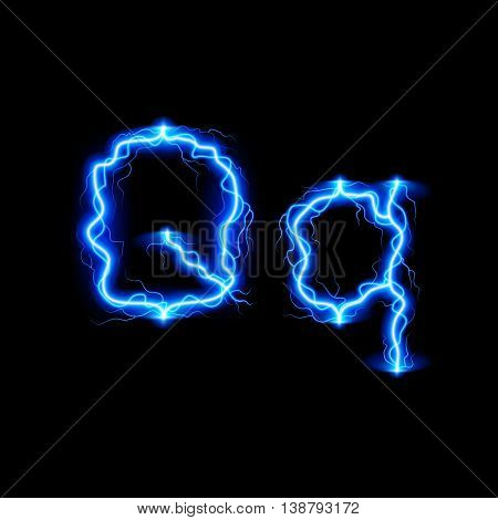 Uppercase and lowercase letters Q in lighting style
