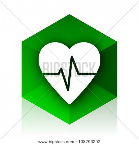 pulse cube icon, green modern design web element