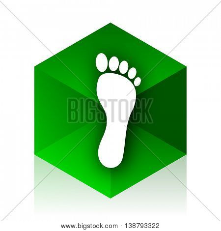 foot cube icon, green modern design web element