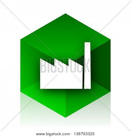 factory cube icon, green modern design web element