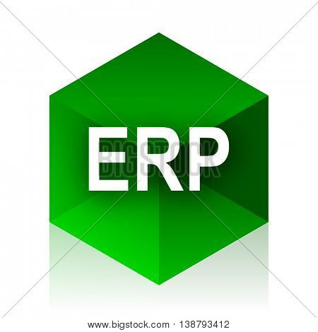 erp cube icon, green modern design web element