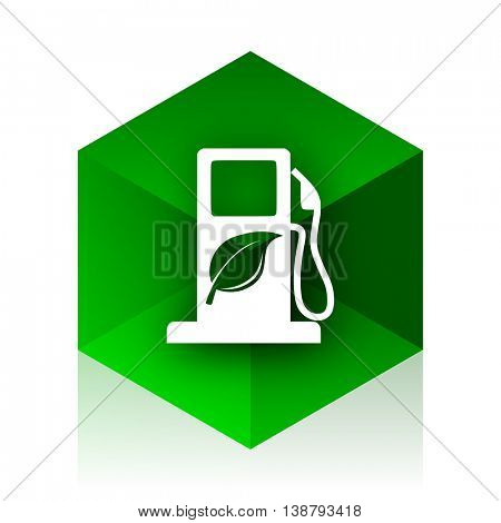 biofuel cube icon, green modern design web element