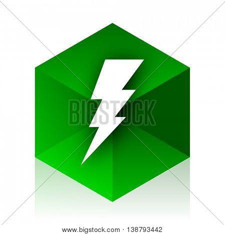 bolt cube icon, green modern design web element