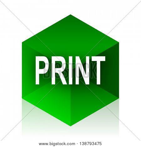 print cube icon, green modern design web element