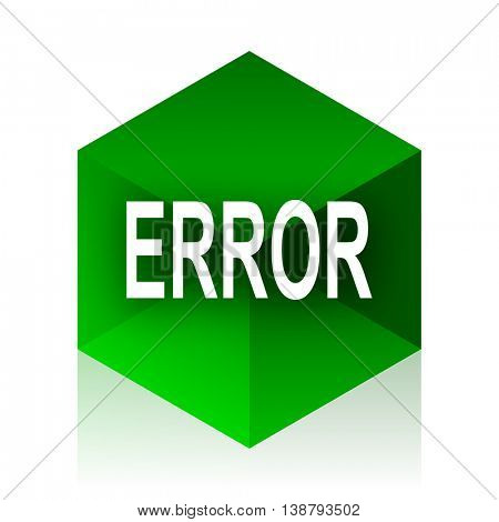 error cube icon, green modern design web element