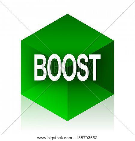 boost cube icon, green modern design web element
