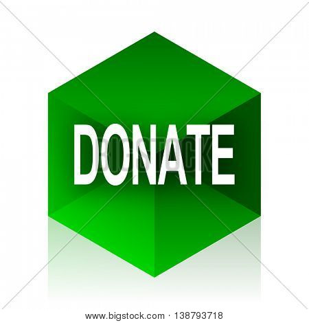 donate cube icon, green modern design web element