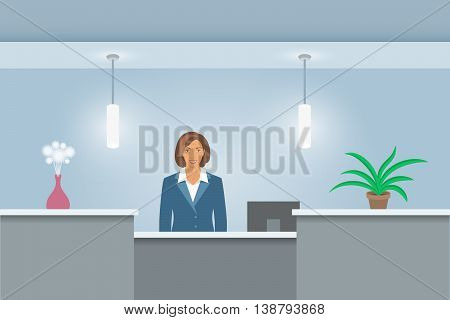 African American woman receptionist stands at reception desk. Front view. Vector flat illustration. Office hall interior design with green plants and administrator. Hotel registration background