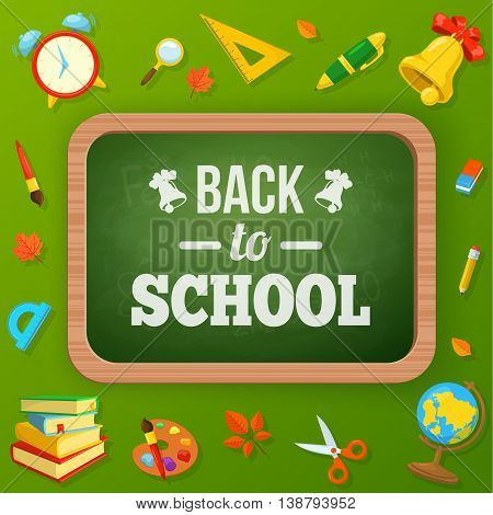 School blackboard and supplies. Vector background for education topic.