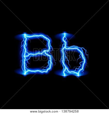 Uppercase and lowercase letters B in lighting style