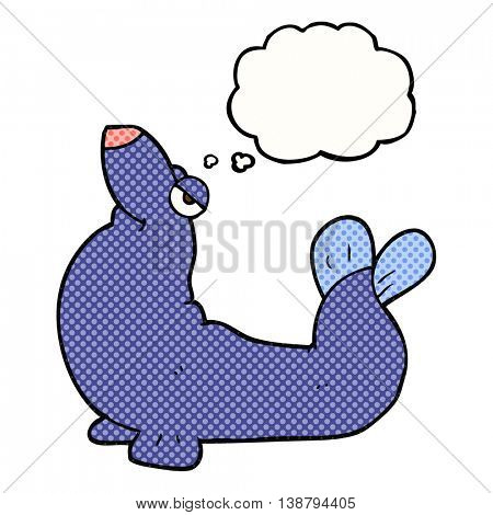 freehand drawn thought bubble cartoon proud seal