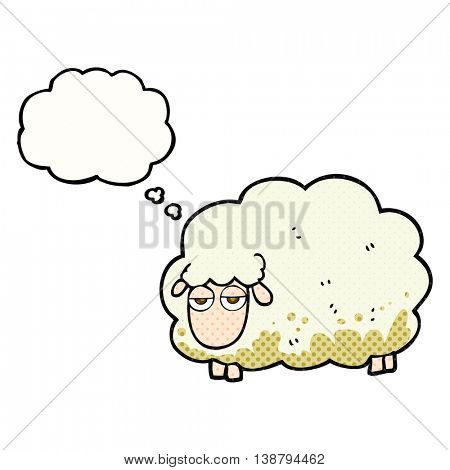 freehand drawn thought bubble cartoon muddy winter sheep