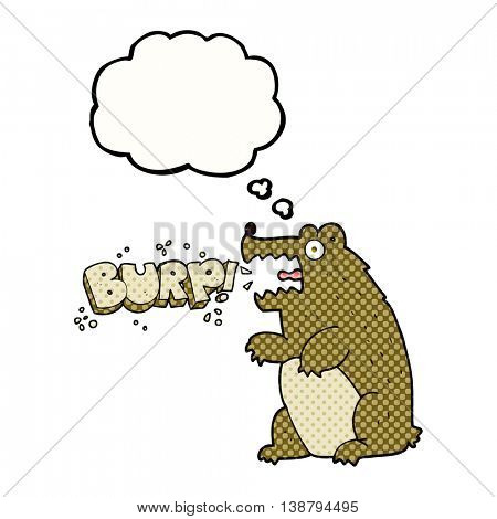 freehand drawn thought bubble cartoon bear