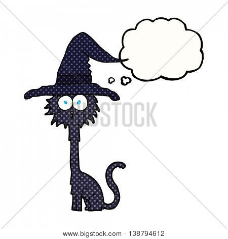 freehand drawn thought bubble cartoon halloween cat