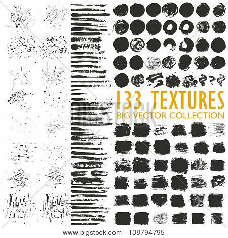 Big set of 133 grungy artistic textures. Messy hand drawn shapes, drops, stains and stokes isolated on white background. Qualitative trace of real paint and ink textures. Trendy design elements