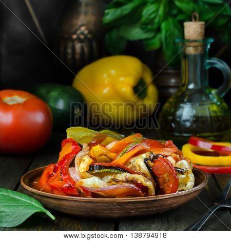 Fresh French ratatouille in crockery plate still life