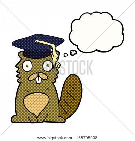 freehand drawn thought bubble cartoon beaver graduate