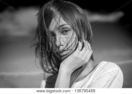 Sensual Black And White Portrait Of A Young Woman.