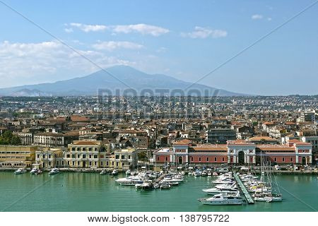A beautiful panoramic view of Catania,Sicily. ITALY.