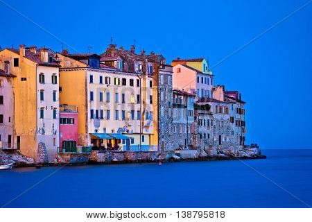 Rovinj waterfront old houses evening view Istria Croatia