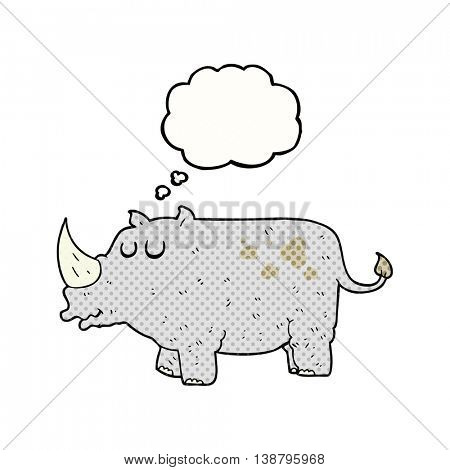 freehand drawn thought bubble cartoon rhino