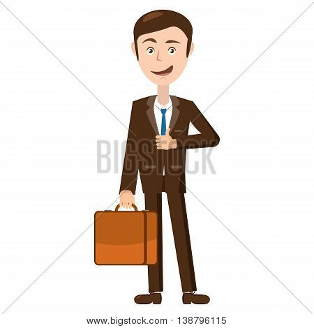 Businessman standing with his briefcase icon in cartoon style isolated on white background