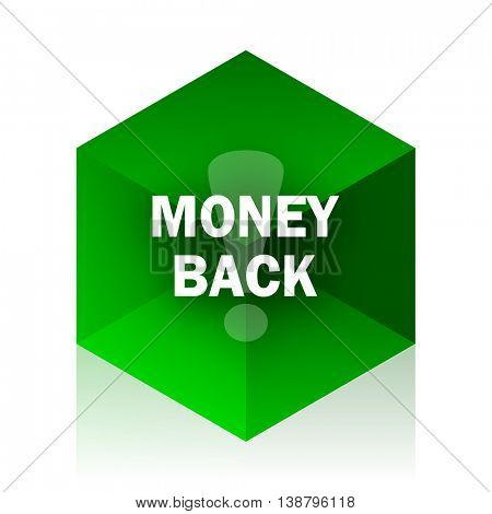 money back cube icon, green modern design web element