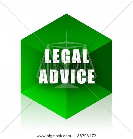 legal advice cube icon, green modern design web element