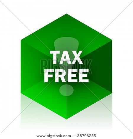 tax free cube icon, green modern design web element