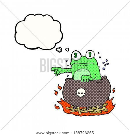 freehand drawn thought bubble cartoon halloween toad in cauldron