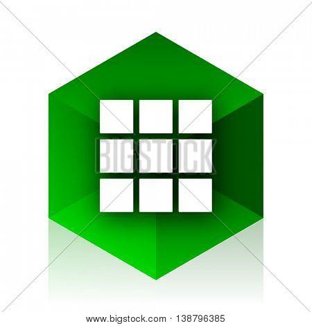 thumbnails grid cube icon, green modern design web element