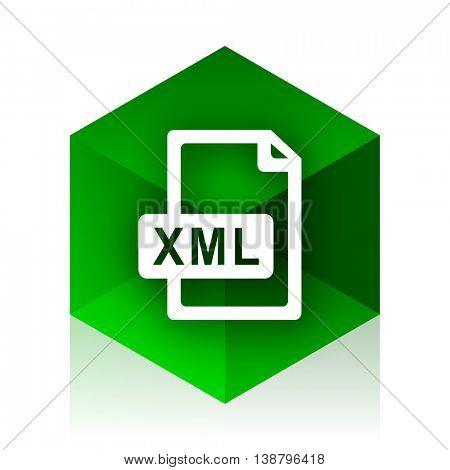 xml file cube icon, green modern design web element