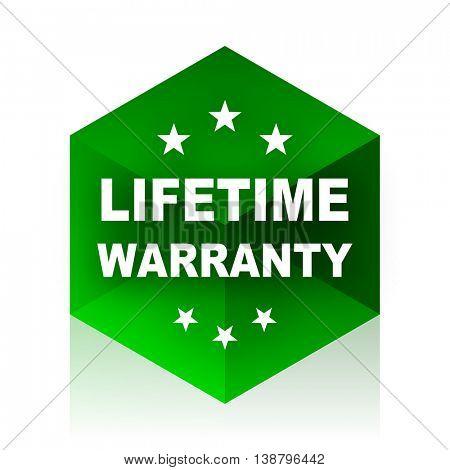 lifetime warranty cube icon, green modern design web element