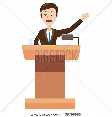 Speaker makes a report to the public icon in cartoon style isolated on white background