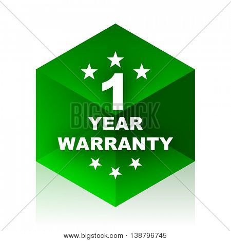 warranty guarantee 1 year cube icon, green modern design web element
