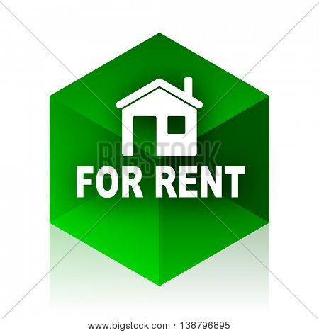 for rent cube icon, green modern design web element