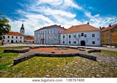Town of Karlovac church and square view central Croatia