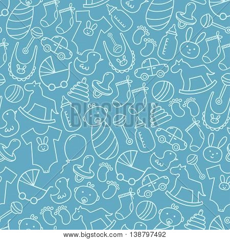 Baby shower doodle seamless pattern. Blue background for boys. Cute icons texture great for fabric, textile design, kid clothes, birthday greetings, party invitations and wrapping. Vector illustration