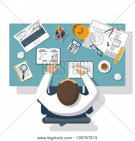 Student learns at the table. Concept distance education e-learning study process. Desk with objects of education: book laptop notebook pen. Flat design vector illustration. Homework.