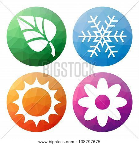 Set  Of 4 Isolated Modern Low Polygonal Buttons - Icons - For 4 Seasons Icons