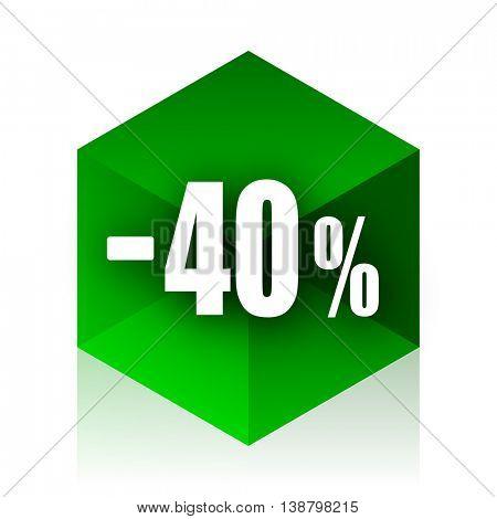 40 percent sale retail cube icon, green modern design web element