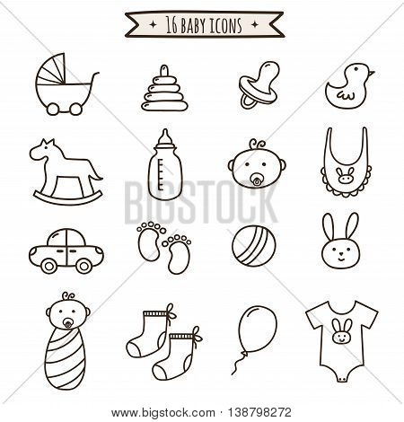 Baby doodle icons set. Cute symbol collection for your design. Vector illustration